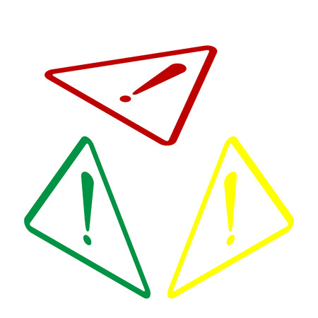 Exclamation danger sign. Flat style. Isometric style of red, green and yellow icon. Illustration