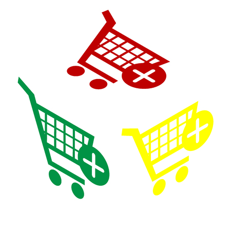 Shopping Cart with add Mark sign. Isometric style of red, green and yellow icon.