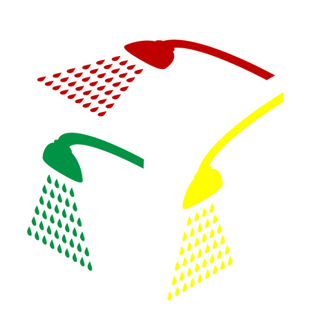 Shower simple sign. Isometric style of red, green and yellow icon.