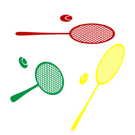 tennis racquet: Tennis racquet sign. Isometric style of red, green and yellow icon. Illustration