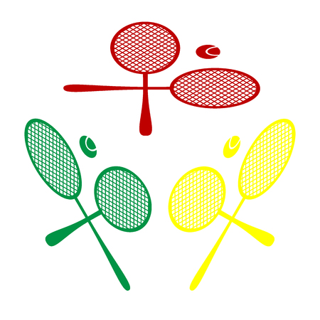 Tennis racket sign. Isometric style of red, green and yellow icon.
