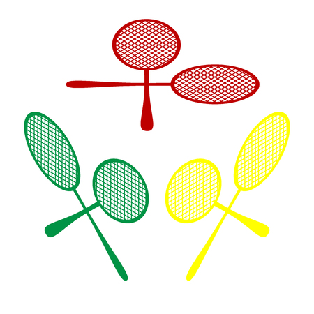 Tennis racquets sign. Isometric style of red, green and yellow icon. Illustration