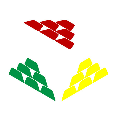 Gold simple sign. Isometric style of red, green and yellow icon.