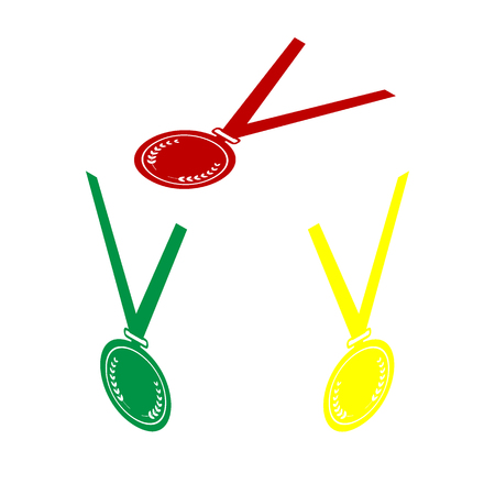 Medal simple sign. Isometric style of red, green and yellow icon. Illustration