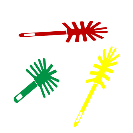 toilet brush: Toilet brush doodle. Isometric style of red, green and yellow icon. Illustration