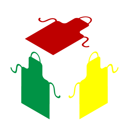 Apron simple sign. Isometric style of red, green and yellow icon. Illustration