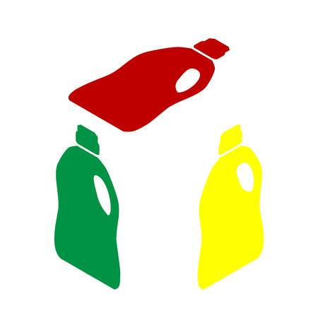 green cleaning: Plastic bottle for cleaning. Isometric style of red, green and yellow icon.