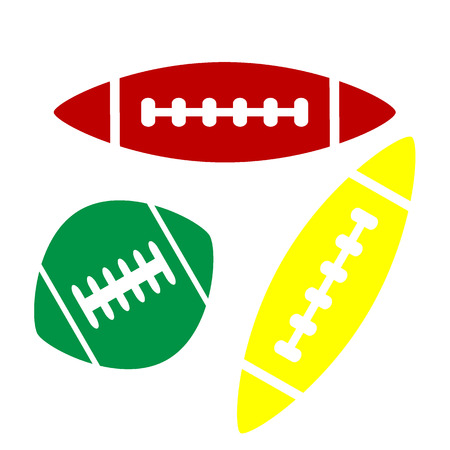 American simple football ball. Isometric style of red, green and yellow icon. Illustration