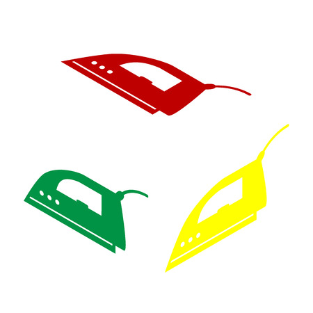 flatiron: Smoothing Iron sign. Isometric style of red, green and yellow icon.