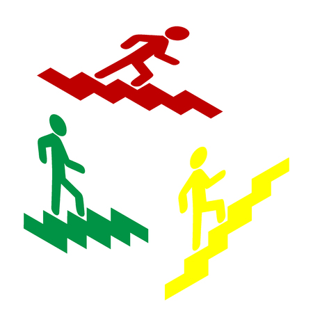 going up: Man on Stairs going up. Isometric style of red, green and yellow icon. Illustration