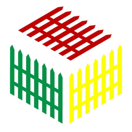 dissociation: Fence simple sign. Isometric style of red, green and yellow icon.