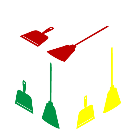 whisk broom: Dustpan vector sign. Scoop for cleaning garbage housework dustpan equipment. Isometric style of red, green and yellow icon.
