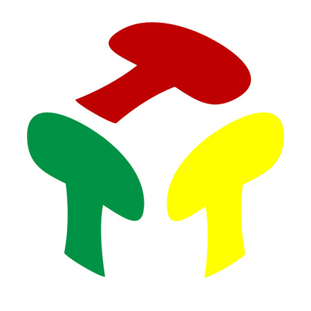 Mushroom simple sign. Isometric style of red, green and yellow icon.