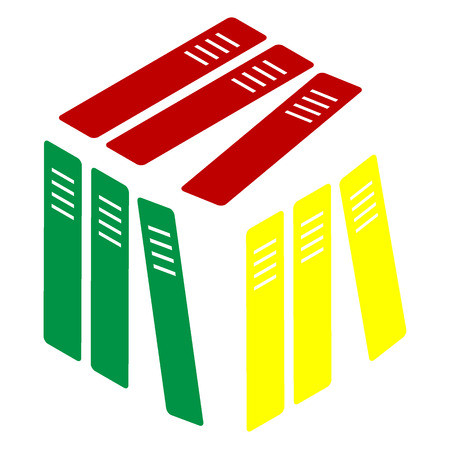 noticeable: Row of binders, office folders icon. Isometric style of red, green and yellow icon.