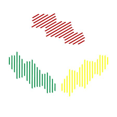 vibrations: Sound waves icon. Isometric style of red, green and yellow icon.