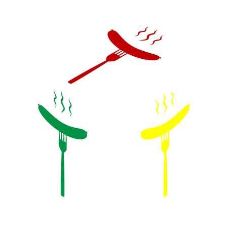 roast lamb: Sausage on fork sign. Isometric style of red, green and yellow icon.