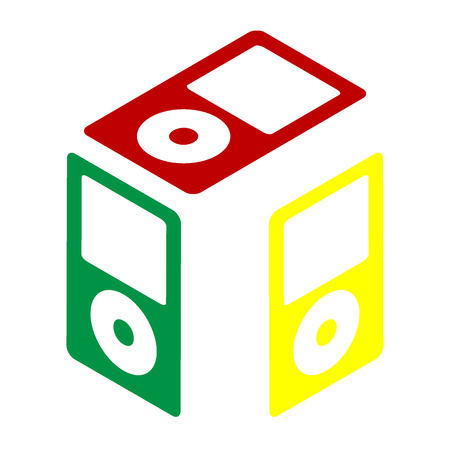 mp: Portable music device. Isometric style of red, green and yellow icon.