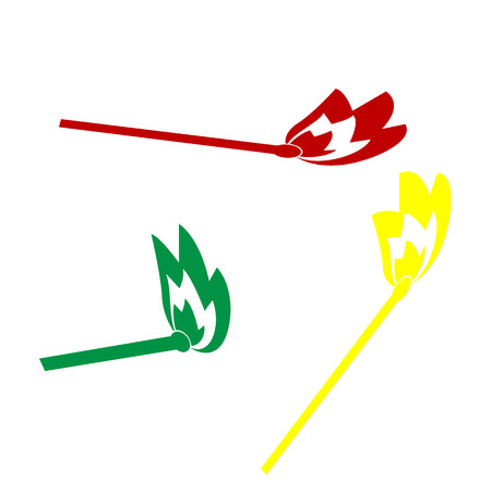 extinguishing: Match sign illustration. Isometric style of red, green and yellow icon.