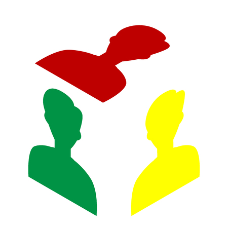 User avatar illustration. Anonymous sign. Isometric style of red, green and yellow icon.