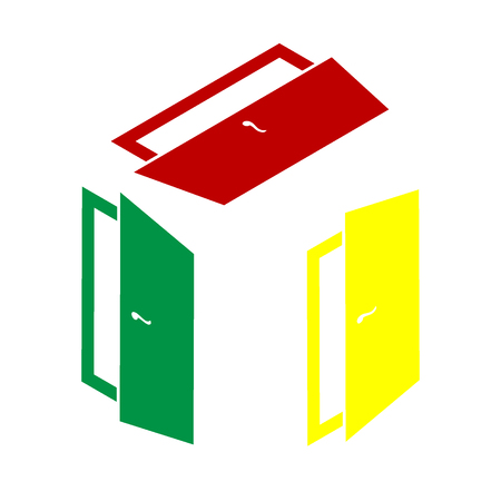 door sign: Door sign illustration. Isometric style of red, green and yellow icon. Illustration