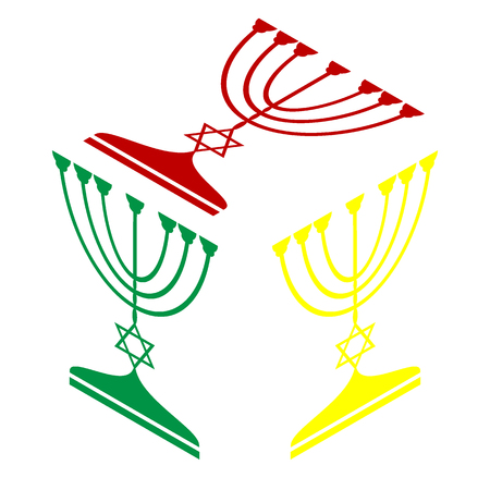 candelabrum: Jewish Menorah candlestick in black silhouette. Isometric style of red, green and yellow icon.