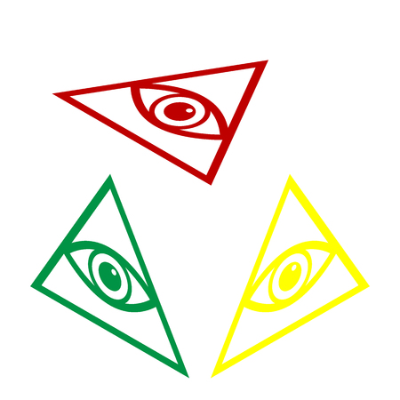 All seeing eye pyramid symbol. Freemason and spiritual. Isometric style of red, green and yellow icon.