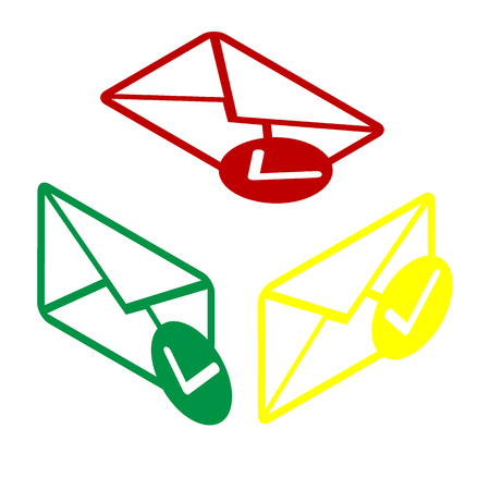 allow: Mail sign illustration with allow mark. Isometric style of red, green and yellow icon.