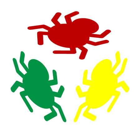 spidery: Spider sign illustration. Isometric style of red, green and yellow icon. Illustration