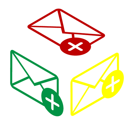 Mail sign illustration with add mark. Isometric style of red, green and yellow icon. Illustration