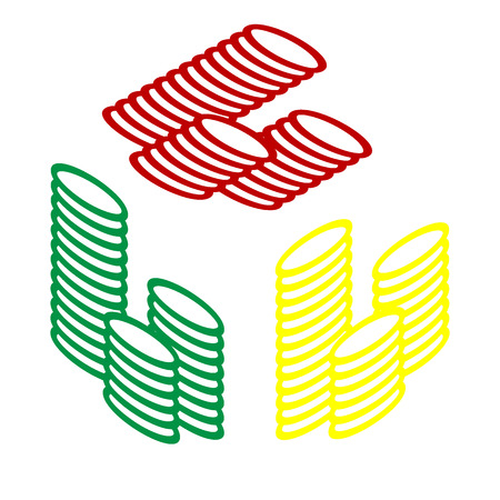 Money sign illustration. Isometric style of red, green and yellow icon. Illustration