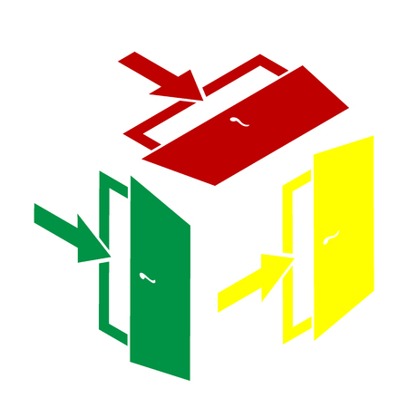 doorknob: Door Exit sign. Isometric style of red, green and yellow icon.