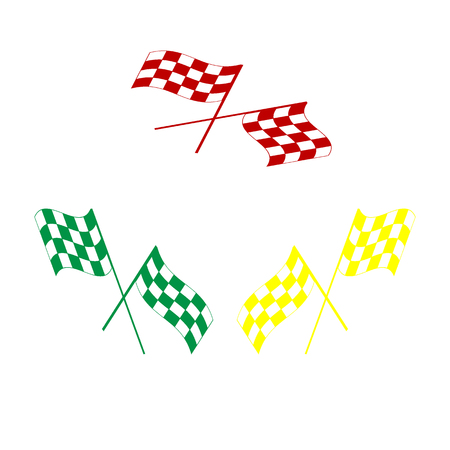 Crossed checkered flags logo waving in the wind conceptual of motor sport. Isometric style of red, green and yellow icon.