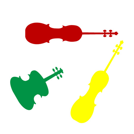 Violine sign illustration. Isometric style of red, green and yellow icon. Illustration