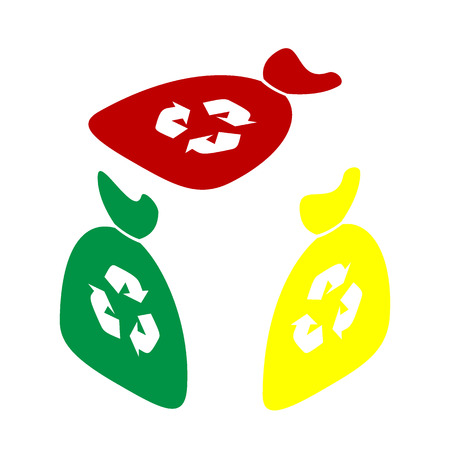 bin tub: Trash bag icon. Isometric style of red, green and yellow icon.