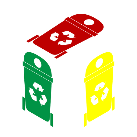 trashcan: Trashcan sign illustration. Isometric style of red, green and yellow icon. Illustration