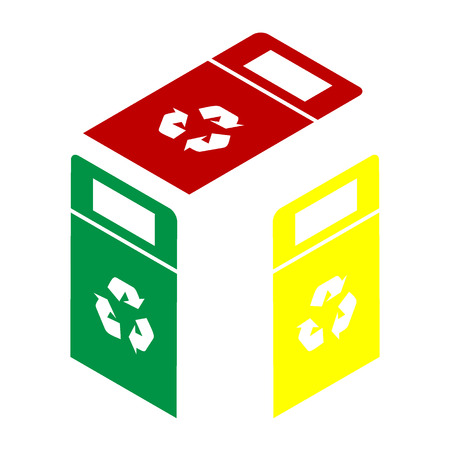 trashing: Trashcan sign illustration. Isometric style of red, green and yellow icon. Illustration