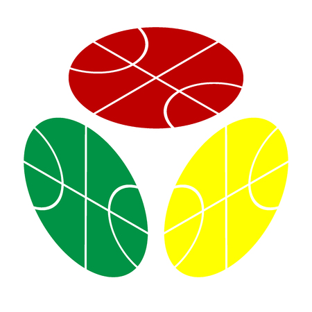 Basketball ball sign illustration. Isometric style of red, green and yellow icon.