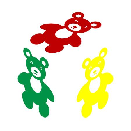 Illustration d'enseigne d'ours en peluche. Style isométrique de l'icône rouge, vert et jaune.