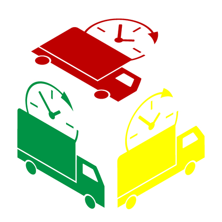 Delivery sign illustration. Isometric style of red, green and yellow icon. Illustration
