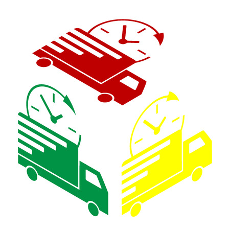 semitruck: Delivery sign illustration. Isometric style of red, green and yellow icon. Illustration
