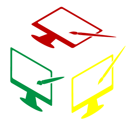 Monitor with brush sign. Isometric style of red, green and yellow icon. Illustration