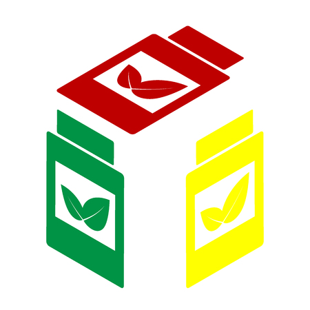 supplements: Supplements container sign. Isometric style of red, green and yellow icon. Illustration