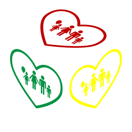 siloette: Family sign illustration in heart shape. Isometric style of red, green and yellow icon.