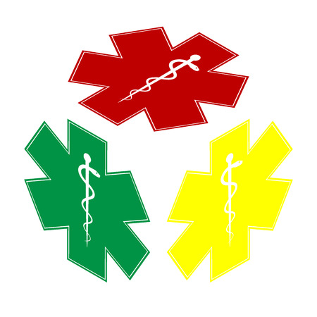 staff of aesculapius: Medical symbol of the Emergency - Star of Life - icon isolated on white background. Vector.