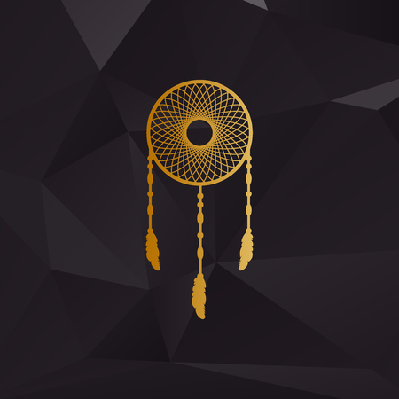 swelled: Dream catcher sign. Golden style on background with polygons.
