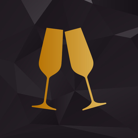 champagne glasses: Sparkling champagne glasses. Golden style on background with polygons.