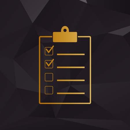checklist: Checklist sign illustration. Golden style on background with polygons.