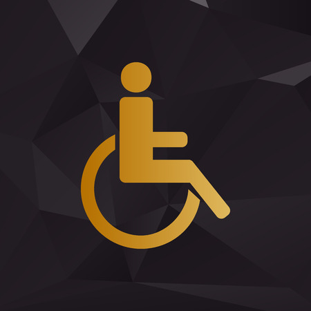 disabled sign: Disabled sign illustration. Golden style on background with polygons.