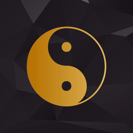 ying yan: Ying yang symbol of harmony and balance. Golden style on background with polygons. Illustration