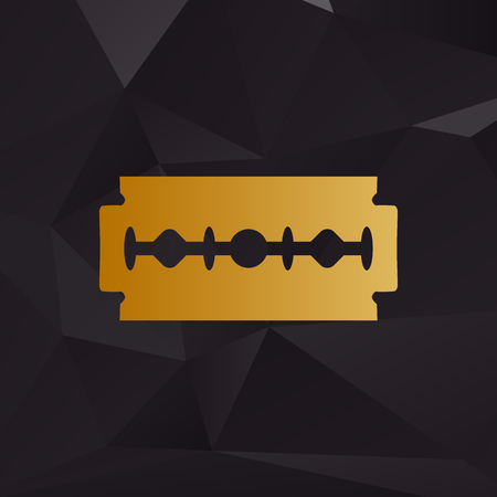 razor blade: Razor blade sign. Golden style on background with polygons. Illustration
